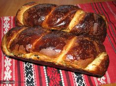 Cozonac (sweet yeast bread) with nuts, instructions in Romanian