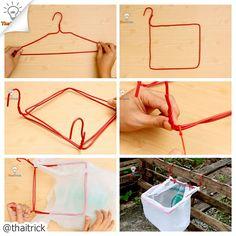 Hanger Life Hacks no.2 via=> youtube.com/thaitrick #lifehacks #thaitrick #diy #hanger #craft