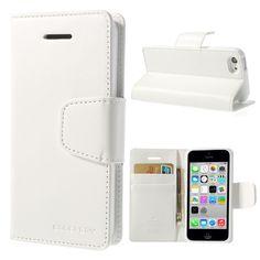 Housse Portefeuille iPhone 5c Imitation Cuir - Blanc