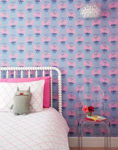 Modern Children's Bedroom with pink and purple Katie Ridder wallpaper  by Bella Mancini Design