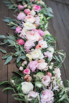 eucalyptus pink peony fresh flower table runner centerpieces