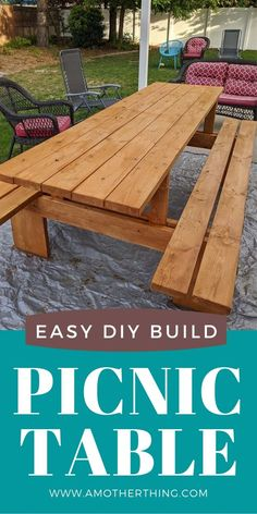 This DIY Extra Large Modern Picnic Table is perfect for large families and for entertaining. It's great for beginners and can be done in one afternoon. Diy Picnic Table, Picnic Table Plans, Diy Dining Room Table, Diy Table, Round Picnic Table, Pallet Picnic Tables, Backyard Picnic, Chickens Backyard, Outdoor Dining