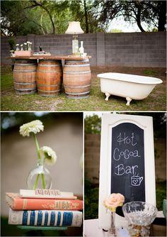 What a great bar set-up idea! Barrels and a vintage tub!