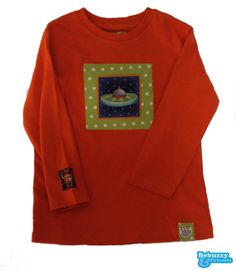 Space_05_ Cotton's orange color long sleeve for boy, with a space ship / Camisola cor de laranja para rapaz com nave espacial by BebuzzyandFriends, €15.00