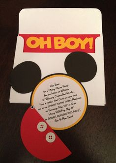 Set of 20 - Mickey Mouse Clubhouse Round Birthday Invitations with Real Buttons. $60.00, via Etsy.