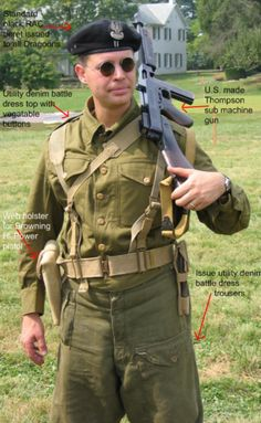 Here is an example of the denim utility battle dress uniform. This was originally meant to be worn over the wool BD during dirty work. The Poles and British however found it more suitable for wearing whiteout the wool BD during summer. It should be remembered that only the U.S Army had issued special summer uniforms.