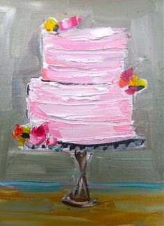 Cake Painting flowers oil original by DevinePaintings on Etsy, cake, art, pink, whimsical, painting, texture, Dallas, artist