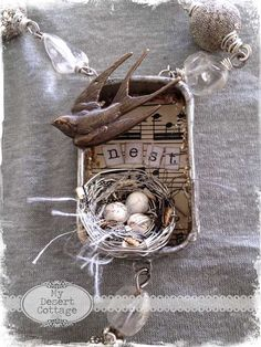Love this nest idea only do One of mine in rusty tin, with music in background, and nest word. I like this cute necklace from Faded Charm, but my nests would not hold up being worn all the time. Etsy Vintage, Vintage Crafts, Altered Tins, Altered Art, Jewelry Crafts, Jewelry Art, Jewlery, Bird Jewelry, Jewelry Ideas