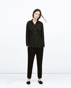 PRESS-STUDS BLOUSE WITH POCKETS-Blouses-Tops-WOMAN | ZARA United States