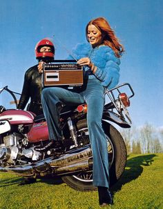 cc48d190 31. A 1970s biker girl cranking up some tunes. Seventies Fashion, 70s  Fashion