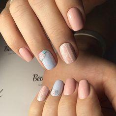 Exquisite nails, Festive nails, flower nail art, Nail designs, Nail designs for short nails, Nails ideas 2016, Original nails, Pale pink nails