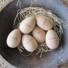 My own Easter Egg hunt led me to Paloma's Nest on Etsy this morning and I thought these personalized wooden eggs would make for the sweet. Easter Crafts, Holiday Crafts, Holiday Fun, Easter Decor, Easter Ideas, Happy Easter, Easter Bunny, Easter Eggs, Easter Celebration