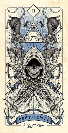 Four Horsemen of Apocalypse Tarot Cards Artwork Released in Higher Quality. – X-Men Films Arte Horror, Horror Art, Dark Fantasy Art, Dark Art, Apocalypse Art, Apocalypse Survival, Satanic Art, Occult Art, Gothic Art