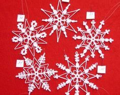 PDF Patterns for 5 Crocheted Snowflakes set 16 by TheNeedleWorks
