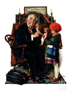 """Doctor and the Doll"", March 9,1929 Giclee Print by Norman Rockwell at Art.com"