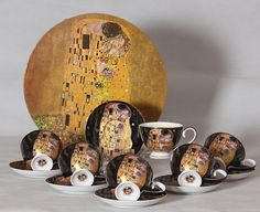 Gustav Klimt Tee- Kaffeeservice 12teilig Porzellan Motiv Der Kuss schwarz Gustav Klimt, Tableware, Collection, Atelier, China China, Kiss, Holiday, Kaffee, Packaging