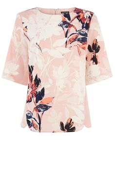 Tops | Pink Placement Floral Elbow Top | Warehouse