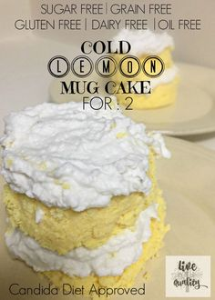 Cold Lemon Mug Cake For 2. CANDIDA DIET approved! 100 % guilt free. Make in less than 5 minutes!