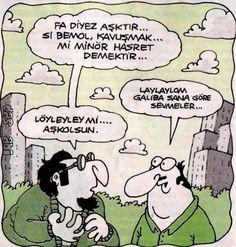 - Fa diyez aşktır... Si bemol, kavuşmak... Mi minör hasret demektir... + Laylaylom galiba sana göre seymeler... - Löyleyley mi.... Aşkolsun #karikatür #mizah #matrak #komik #espri #şaka #gırgır #komiksözler
