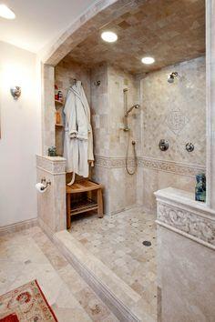 Shower nook offers storage space