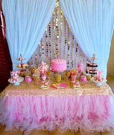 Custom Dessert Bar in Pink & Gold for a Royal Princess on her 1st Birthday
