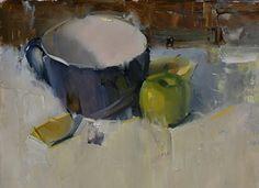 """bowl and apples"" - Pintura a óleo de Robert Lemler"
