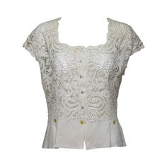 Madeira handmade cut work lace embroidered blouse in off white 1950s For Sale at 1stdibs