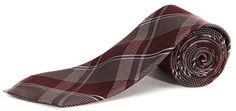 Vince Camuto Men's Domenico Plaid Neck Tie Burgundy / Multi