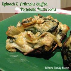 Delicious and creamy spinach and artichoke stuffed mushroom recipe