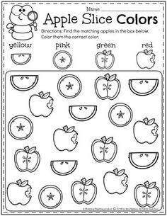 Preschool Apple Worksheets - Find and color Preschool Apple Activities, Color Worksheets For Preschool, Preschool Apple Theme, Back To School Worksheets, Preschool Lesson Plans, Learning Activities, Preschool Homework, Preschool Apples, Kindergarten Math