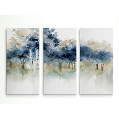 'Waters Edge I' Acrylic Painting Print Multi-Piece Image on Wrapped Canv… – Creative Canvas Three Piece Wall Art, 3 Piece Canvas Art, Multi Canvas Painting, Acrylic Canvas, Canvas Artwork, Painting Prints, Canvas Prints, Art Print, Blue Painting