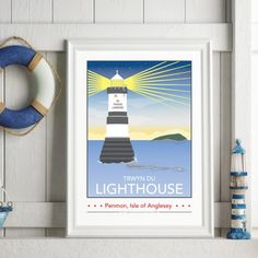 Penmon Lighthouse, Isle of Anglesey Print – English or Welsh by Tabitha Mary  £16.00–£105.00  The Penmon Lighthouse caught at sun rise is the result of a rebranding project I carried out with 'We are Anglesey.'  Available in English or Welsh! Just let me know which one you'd like by leaving a note at checkout (english will be sent as default)  I am inspired by the old railway posters, my prints are now available as digital prints, signed Giclee prints both with an option of framing.