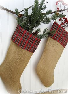 All that burlap left over from the wedding has got the perfect repurpose./CONFESSIONS OF A PLATE ADDICT Burlap and Plaid Stockings1_thumb[5]