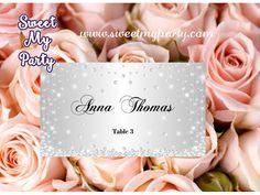 Silver Diamonds Wedding Place Cards,Glitter Sparkle Wedding Place Cards,(15)