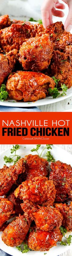 Nashville Hot Fried Chicken - My family and friends go crazy over this fried chicken - and its easier than you think! Juicy, crispy, flavorful and you can make it as spicy or not spicy just depending (Fried Chicken Dishes) Nashville Hot Fried Chicken Recipe, Spicy Fried Chicken, Fried Chicken Recipes, Spicy Recipes, Turkey Recipes, Cooking Recipes, Nashville Chicken, Breaded Chicken, Delicious Recipes