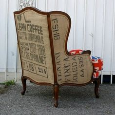 Reupholstered chair using coffee sack