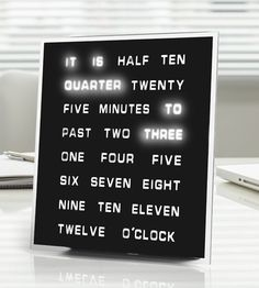 A unique clock that would rather spell out the time for you. | 33 Products That Will Turn Your House Into A Minimalist Dream