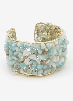 Gold & Blue Chalcedony Chip Stone Cuff