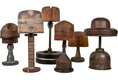 Wood Hat Forms, Set of 6- have a few of the forms myself but would love to buy these with the stands.