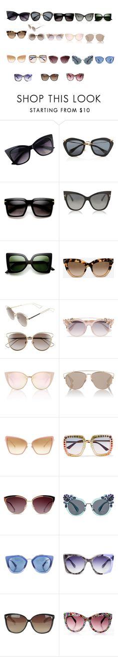 """sunglasses"" by azra-99 on Polyvore featuring Miu Miu, Tom Ford, ZeroUV, Valentino, Christian Dior, Jimmy Choo, Dita, Gucci, GlassesUSA and Prada"