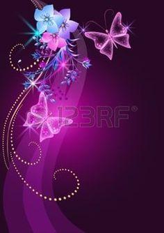 feu d artifice FLEUR: Arrière-plan éclatant avec les fleurs, les papillons et les étoiles Illustration