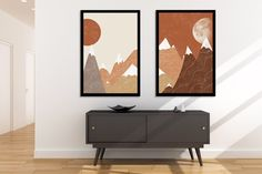 Sun and Moon with Mountains Print Set of 2 Abstract Neutral Walls, Large Wall Art, Abstract Landscape, Printable Wall Art, Wall Prints, Mid-century Modern, Wall Decor, Moon, Easy