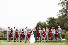I love how the groom stands out with his suit colour from the rest