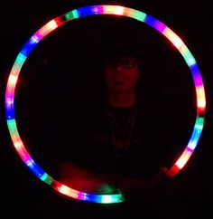"Light Up Hula Hoop 36 LED/ 28"" Glow Rave/Raver Lighted Toy Colapsable 3 pc Hoola"
