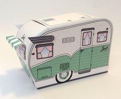 1950s RV Camper Trailer box, Caravan Box, cupcake box, gift card box, gift favor box - Green - Insatn Download D.I.Y. Printable PDF Ki