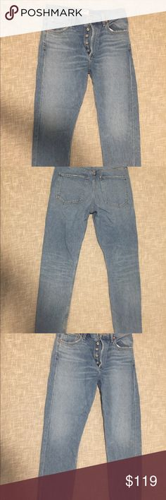 AGolde Jamie High Rise Jeans Brooklyn Size 27 These are great jeans. They have been worn exactly once and washed exactly once (carefully, no shrinking). They are 100 percent cotton, made in the USA, high-waisted, in an up-to-date style. Agolde Jeans Straight Leg