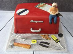 happy birthday dad snap-on tool box cabinet tools cake 70th Birthday, Birthday Cakes, Tool Box Cabinet, Tool Cake, Cakes And More, Celebration, Lunch Box, Tools, Happy