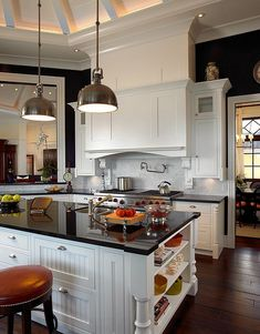 Eclectic kitchen in black and white