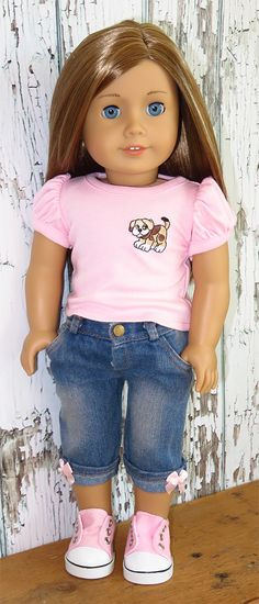 Silly Monkey - Pink Puppy Top and Denim Capri Pants, $16.99 (http://www.silly-monkey.com/products/pink-puppy-top-and-denim-capri-pants.html)