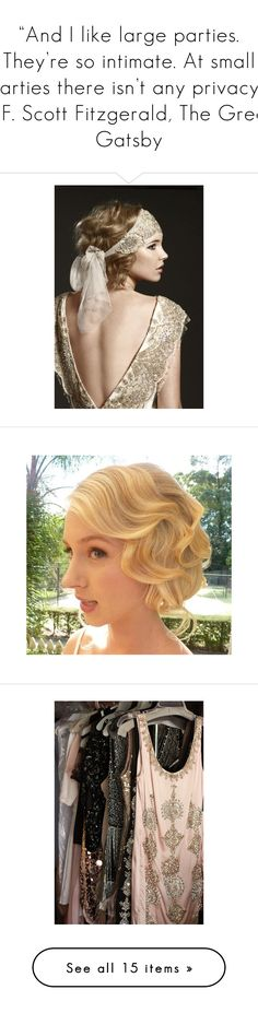"""""And I like large parties. They're so intimate. At small parties there isn't any privacy."" ― F. Scott Fitzgerald, The Great Gatsby"" by storycosmicjasmine ❤ liked on Polyvore featuring flapper, hair, backgrounds, pictures, photos, pics, accessories, hair accessories, people and 1920s headband"